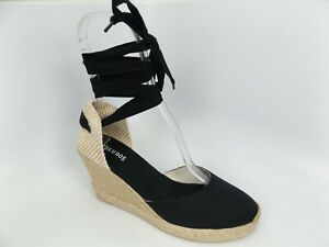 Womens SOLUDOS Lace Up Closed Toe Classic Wedge Espadrille Shoes SZ 9.5 M, 15977