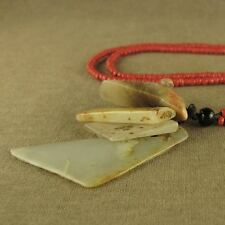 STUNNING CARVED CHINESE LONGSHAN CULTURE JADE 4 KNIFE AXE Pei PENDANT NECKLACE