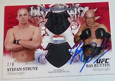 Bas Rutten Signed UFC 2012 Topps Bloodlines Dual Fighter Relics Red Card Auto /8