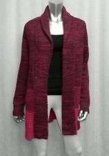 ISAAC MIZRAHI LIVE Raspberry Purple Colorblock Open Front Cardigan Sweater sz S