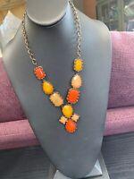"""Vintage Bright Orange Yellow Bib Statement Necklace Cluster chain gold 18"""""""