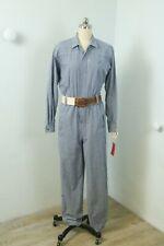 Vintage 80s Indigo Blue Cotton Check Workwear Style Button Front Jumpsuit S Tags