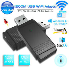1200Mbps Dual Band 2.4G/5G Wireless USB WiFi Network Adapter Dongle Bluetooth PC