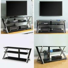 65 Inch TV Stand Black Tempered Glass Shelves Entertainment Unit Media Console