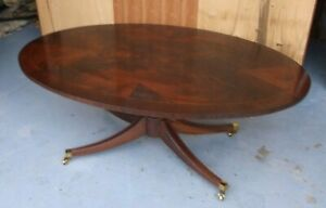 Hickory Chair Mahogany Duncan Phyfe Style Oval Coffee Table