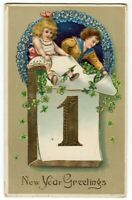 121113A Lovely Antique New Year Postcard Boy and Girl on Calendar 1915