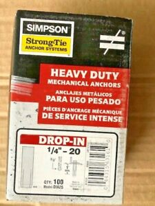 """DIA25 DROP-IN ANCHORS 1/4"""" - 20   Box of 100 Simpson Strong-Tie"""