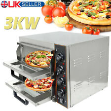 More details for commercial electric pizza oven double deck fire stone base baking 3000w 2x16