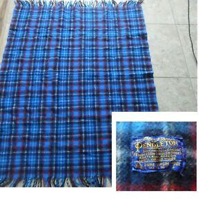 VTG PENDLETON Wool STADIUM BLANKET THROW Plaid BLUES/Red/White 46X56 + fringe