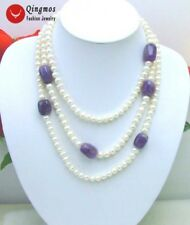 """White 6-7mm Natural Pearl & Baroque Amethyst 60"""" Necklace for Women Jewelry-5268"""