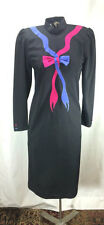 1970s Vintage Black Shift Dress with Decorated Bow. Long Sleeves. Size M