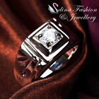 18K White Gold Plated Simulated Diamond Square Shaped Men's Engagement Ring