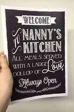 Personalised Welcome to Nanny Mummy Daddy Kitchen A4 Vintage Chalk Style Gift