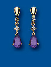 Unique Wishlist 9ct Yellow Gold Amethyst Pear & Cubic Zirconia Drops AP6849