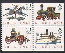 USA 1992 Natale/Giocattoli/Treno a Vapore/Barca/Auto/Cavallo/trasporto 4 V bklt riquadro n36412