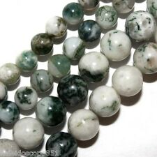 TREE AGATE GEMSTONE BEADS 4MM ROUND STONE BEAD STRANDS WHITE GREEN S89