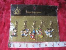 Disney Tokyo Disneyland 20 Year Pin Metal Clip-On Lanyard Mickey Mouse 5 Poses