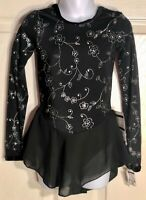 GK BLACK FLORAL ICE FIGURE SKATE CHILD SMALL LgSLV FOIL PRINT VELVET DRESS Sz CS