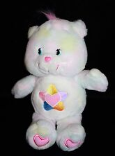 "Care Bears TRUE HEART Bear 13"" Talks Tie Dye Pastel Plush Stuffed Soft Toy 2004"