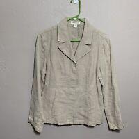 Coldwater Creek Petite Sz P 10 Linen Jacket Blazer Tan Coat Blazer 100% Linen