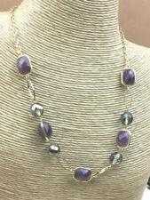 Fashion Necklace Glass & Acrylic Smoke & Amethyst Color Goldtone Choker NWOT