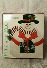 Nib Fitz And Floyd Essensials Holiday Snowman CanapÉ Appetizer Dessert Plate