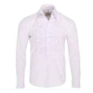 Men's ZenRetro White Ruffle Ruche Frill Tuxedo Shirt