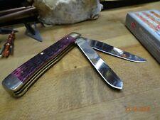 "CASE 4.125"" CLOSED POCKET KNIFE CABERNET BONE CRANDALL JIGGED TRAPPER S.S BLADES"
