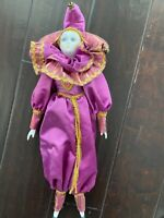"Mardi Gras Decor Harlequin Court Jester Porcelain Clown Doll 18""soft Body"