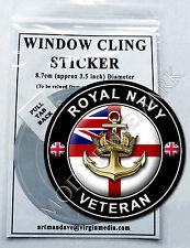 ROYAL NAVY - VETERAN, WINDOW CLING STICKER  8.7cm Diameter