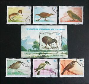 1CUBA Sc# 3241-3247  NEW ZEALAND BIRDS  Cpl set of 6 + SS   1990  used / cto