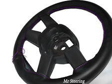 FOR AUDI A4 B7 2005-2008 BLACK NEW LEATHER STEERING WHEEL COVER PURPLE STITCHING