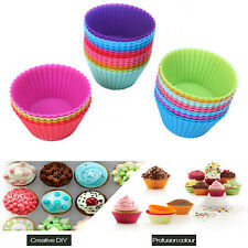 12pcs Silicone Cake Muffin Chocolate Cupcake Liner Baking Cup Cookie Mold US