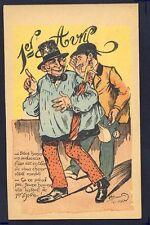 Carte Postale Ancienne Humour DESSIN SIGNÉ Chapardeur Pickpocket 1er AVRIL