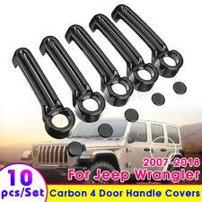 For 2007-2018 Jeep Wrangler JK 4 Door Handle + Tailgate Cover Trim Carbon Fiber