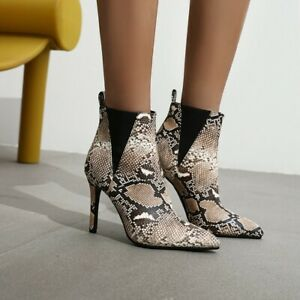 Ladies Sexy Snakeskin Print Boots High Heel Club Party Fashion Stiletto Shoes Sz