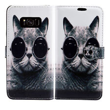 Tiger Lion Leather Wallet Book Case Cover for Sony Xperia E3 M M2 SP Z3 Compact Samsung Galaxy S7 Edge Cat With Glasses - Shades Pussycat Kitten Bobcat