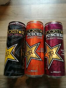 3 Rockstar RR Cans Energy Drink Dosen leer Empty RAR Item GERMANY SET 355ml