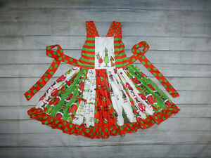 NEW Boutique Dr Seuss Grinch Whoville Ruffle Twirl Girls Christmas Dress