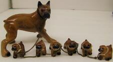 VINTAGE POTTERY BOXER DOG MAMA WITH 6 PUPPIES ON ONE CHAIN FIGURINES~EXC COND