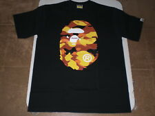 Authentic APE BAPE 1ST CAMO BIG APE HEAD TEE T SHIRT BLACK ORANGE XL NEW RARE