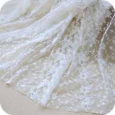 Floral Embroidery White Lace Fabric Bridal Dress Material Mesh Curtain 100*130cm
