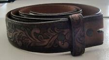 Tony Lama Genuine Western Cowboy Brown Tooled Leather Belt Men's Size 42   #11