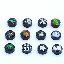 PAIR OF 9MM BLACK UNISEX FAKE EAR PLUGS STAINLESS STEEL LOGO STUD BODY PIERCING