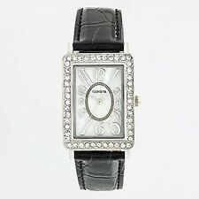 GENEVA Silver-Tone Mother Of Pearl Dial Simulated Crystals Black Band Watch NIB