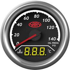 SAAS Dual Gauge Oil Pressure 140 Psi/Water Temp 40°-120° Analogue/Digital T SG