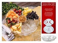 """Acrylic APPETIZER on ICE 12 pc Serving Plate Platter Tray with Lids 16.5"""" x 4.5"""""""
