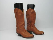 CODE WEST TAN LEATHER WESTERN COWBOY BOOTS METAL TIPS Sz WOMEN'S 7 M