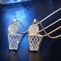 Men Women Hip Hop Necklace Metal Basketball Pendant Round Box Chain
