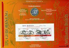 Numisblatt 3/2007 Wilhelm Busch con 10 euros moneda plata ki2454